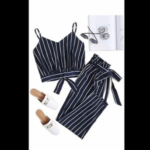 Navy and White Striped crop set
